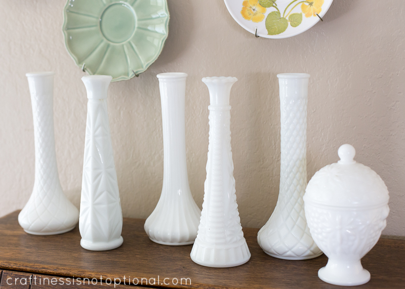 thrifted milk glass collection