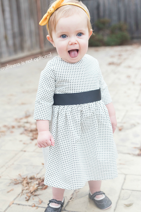 polka dot 5 and 10 designs dress with sleeves!  craftiness is not optional