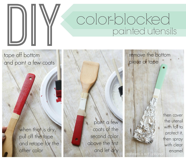 DIY color blocked painted utensils