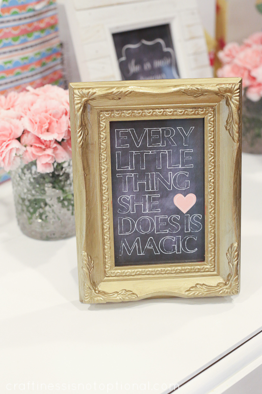 girly chalkboard shower || craftiness is not optional
