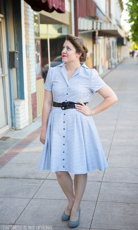 striped shirtdress for vintage may || craftiness is not optional