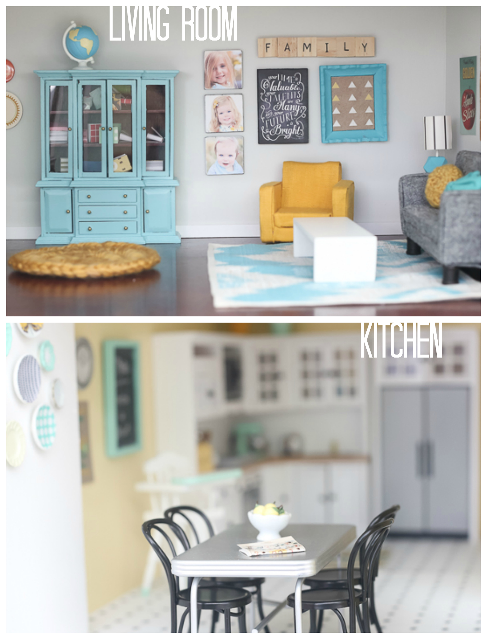 diy dollhouse living room and kitchen. Black Bedroom Furniture Sets. Home Design Ideas