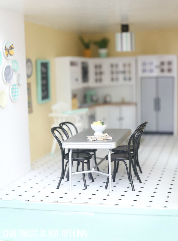 DIY dollhouse living room and kitchen