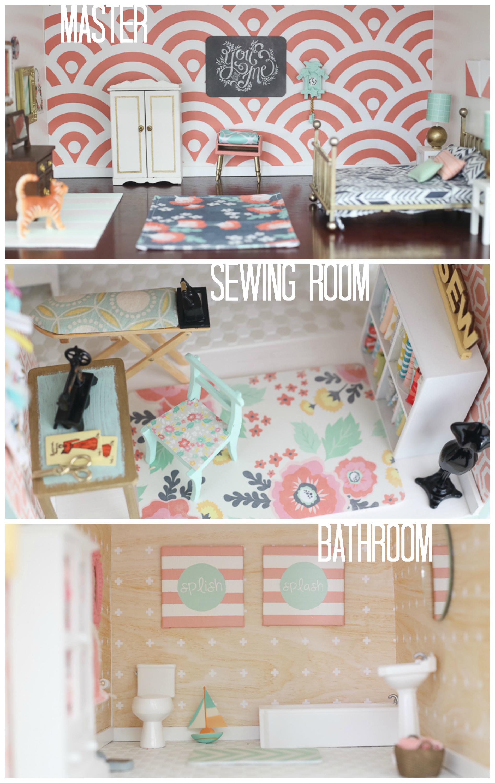 . DIY dollhouse  master bedroom  sewing nook  bathroom