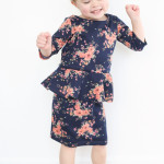 navy and coral peplum dress