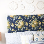 master bedroom headboard and doily hoops