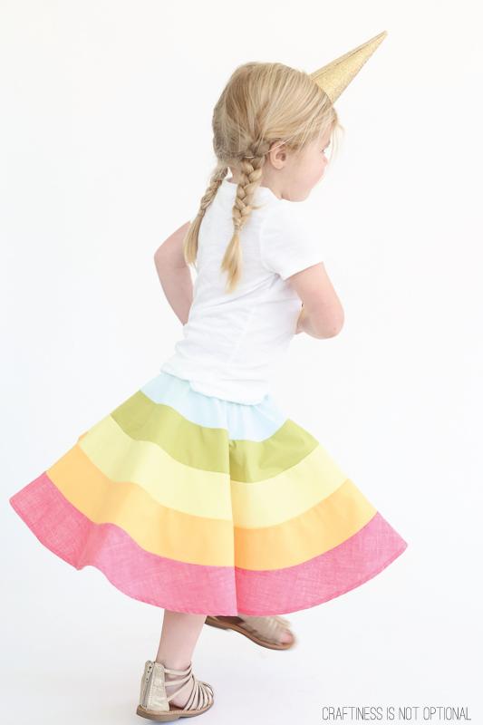 rainbow skirt tutorial and free pattern! #rainbow #rainbowskirt
