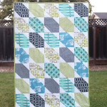 grey, green, and teal baby boy quilt