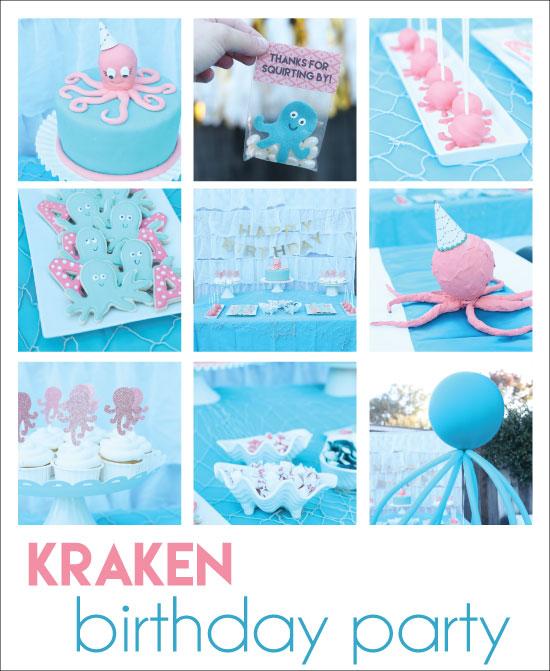 cute kraken birthday party