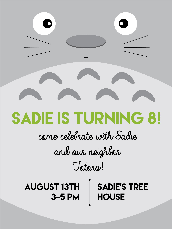 Sadies My Neighbor Totoro birthday party – Totoro Birthday Card