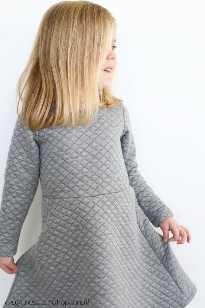 grey quilted skater dress
