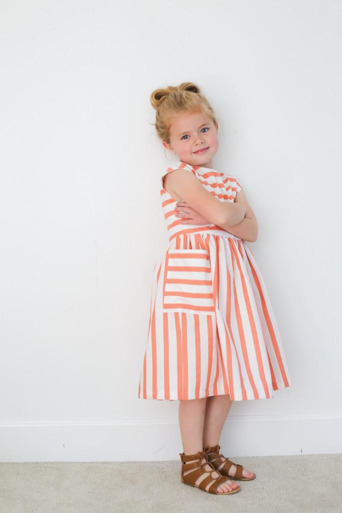 striped coral dress
