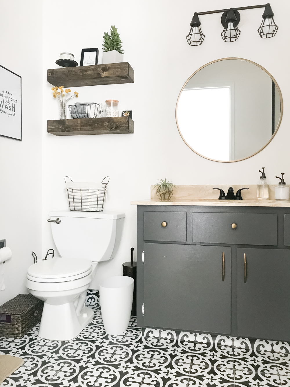 master bathroom makeover with quadrostyle floor tiles