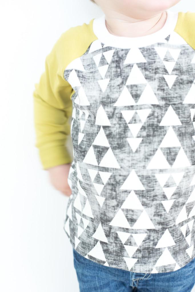 YOTB grey and green triangle raglan